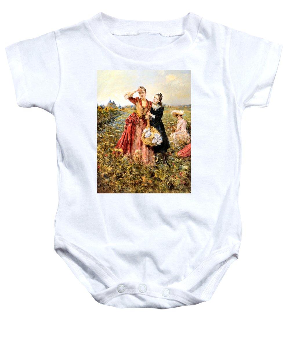 Eduardo Leon Garrido Baby Onesie featuring the digital art Picking Wildflowers by Eduardo Leon Garrido