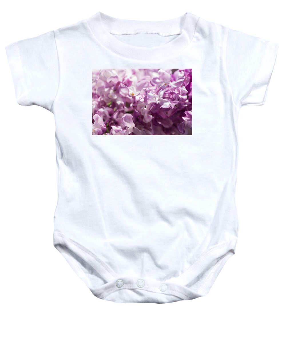 Beautiful Baby Onesie featuring the photograph Pink Lilacs Closeup - Featured 3 by Alexander Senin