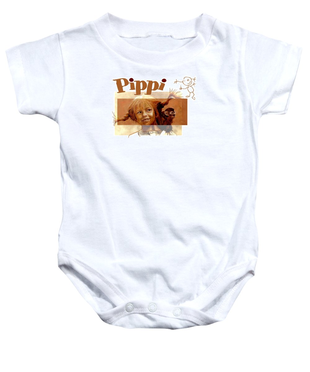 Pippi Baby Onesie featuring the painting Pippi Longstocking - Fan Version by Richard Tito
