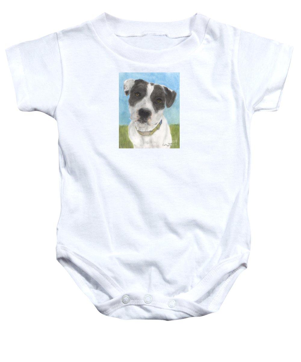 Pitbull Baby Onesie featuring the painting Pitbull Dog Portrait Canine Animal Cathy Peek by Cathy Peek