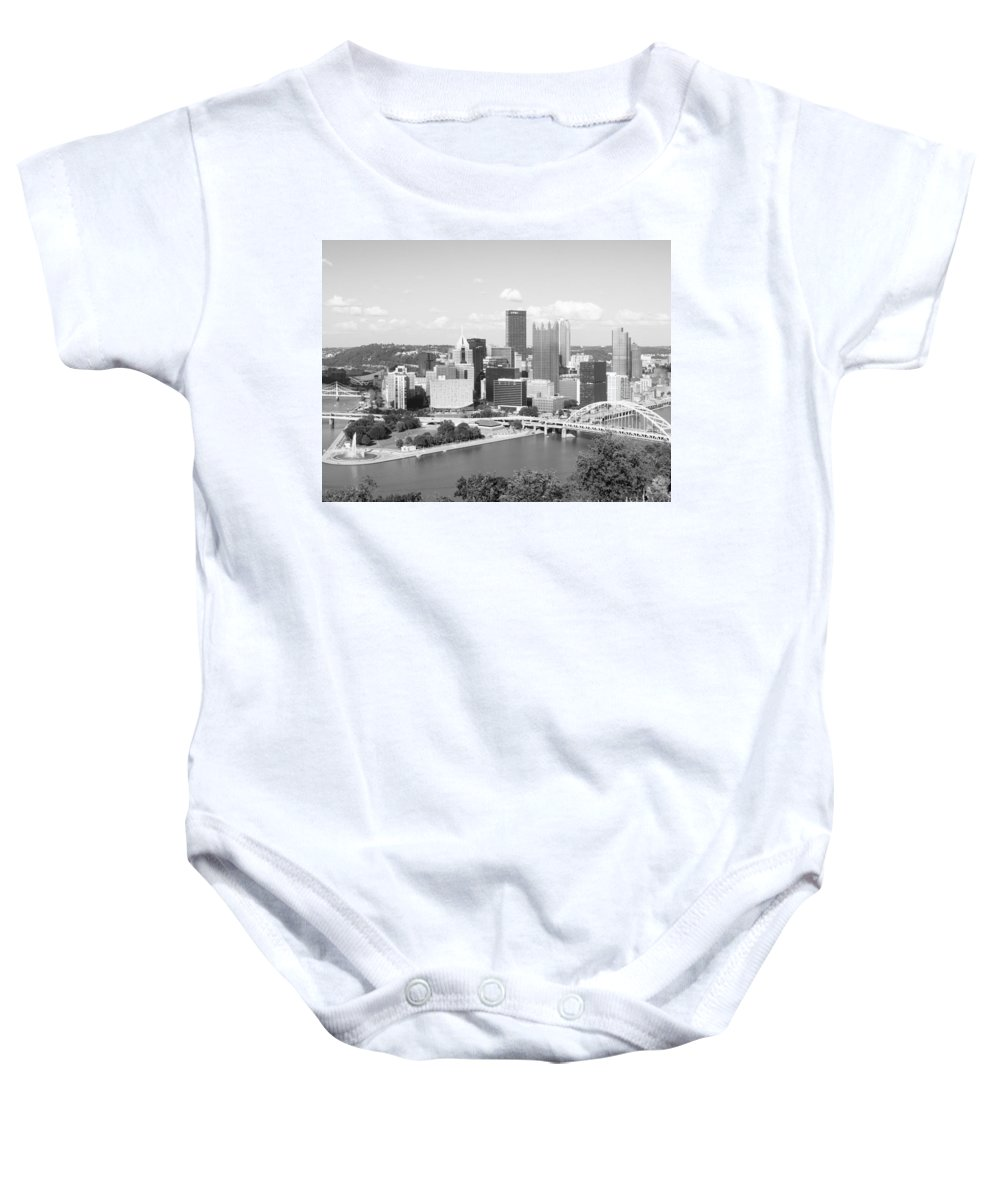 City Baby Onesie featuring the photograph Pittsburgh Skyline From Mount Washington Black And White by Cityscape Photography