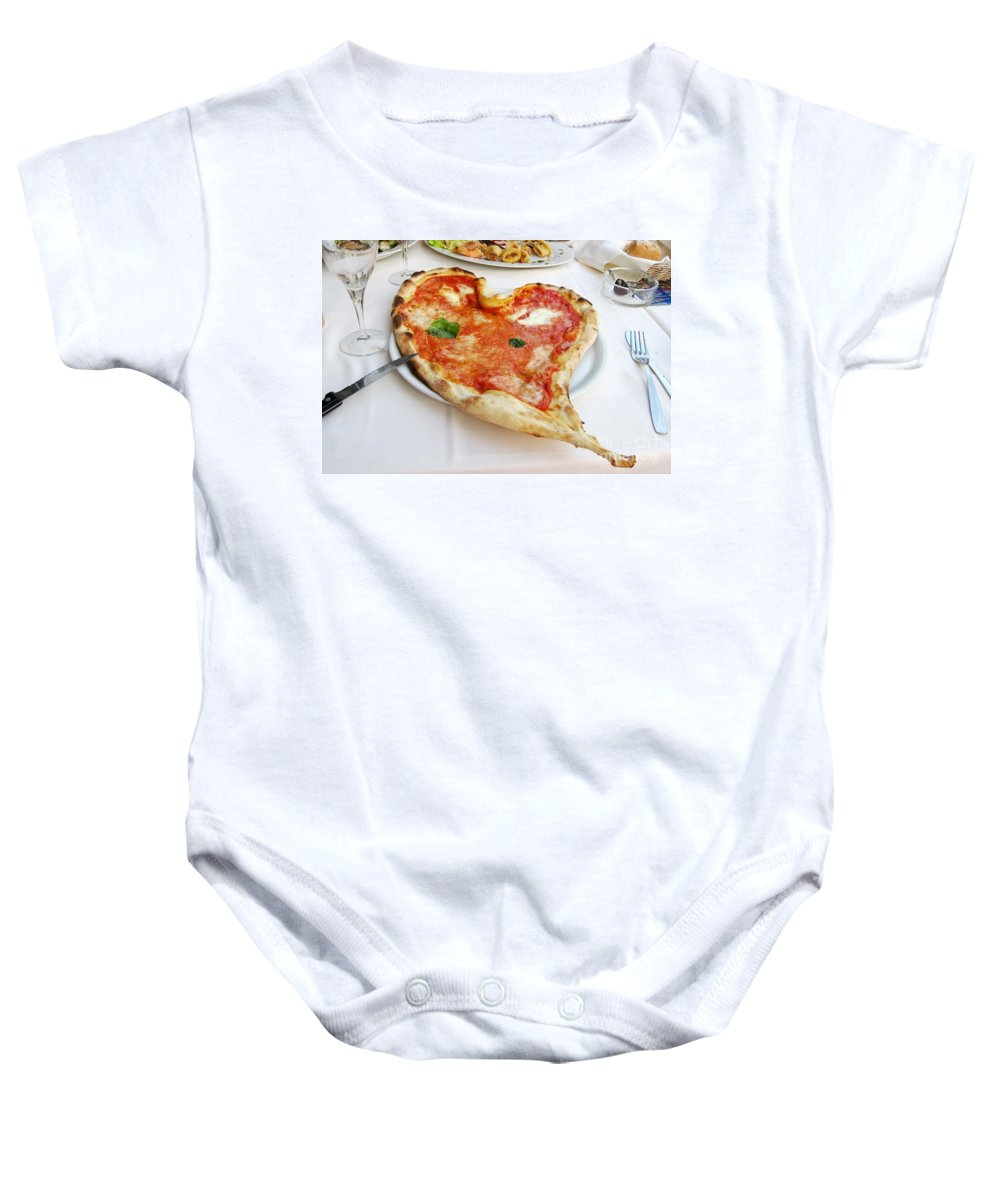 Pizza Baby Onesie featuring the photograph Pizza Amore by Christine Huwer