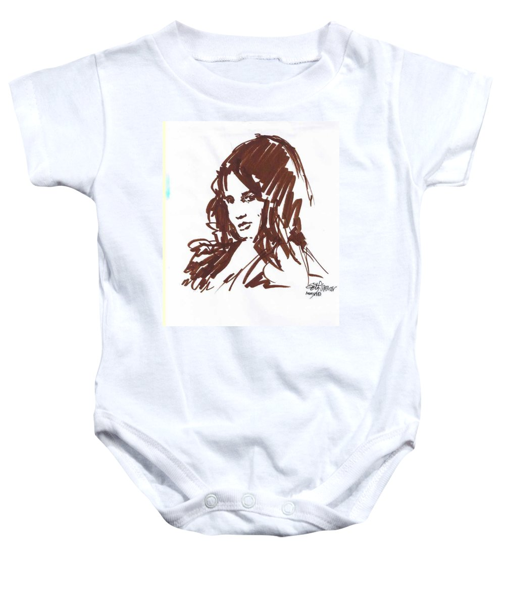 Playful Baby Onesie featuring the drawing Playful by Seth Weaver