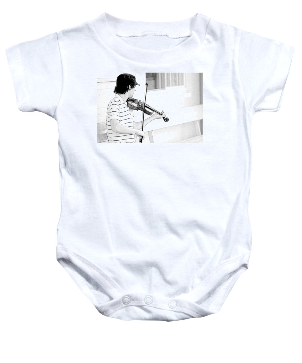 Violin Baby Onesie featuring the photograph Playing Violin by Alice Gipson