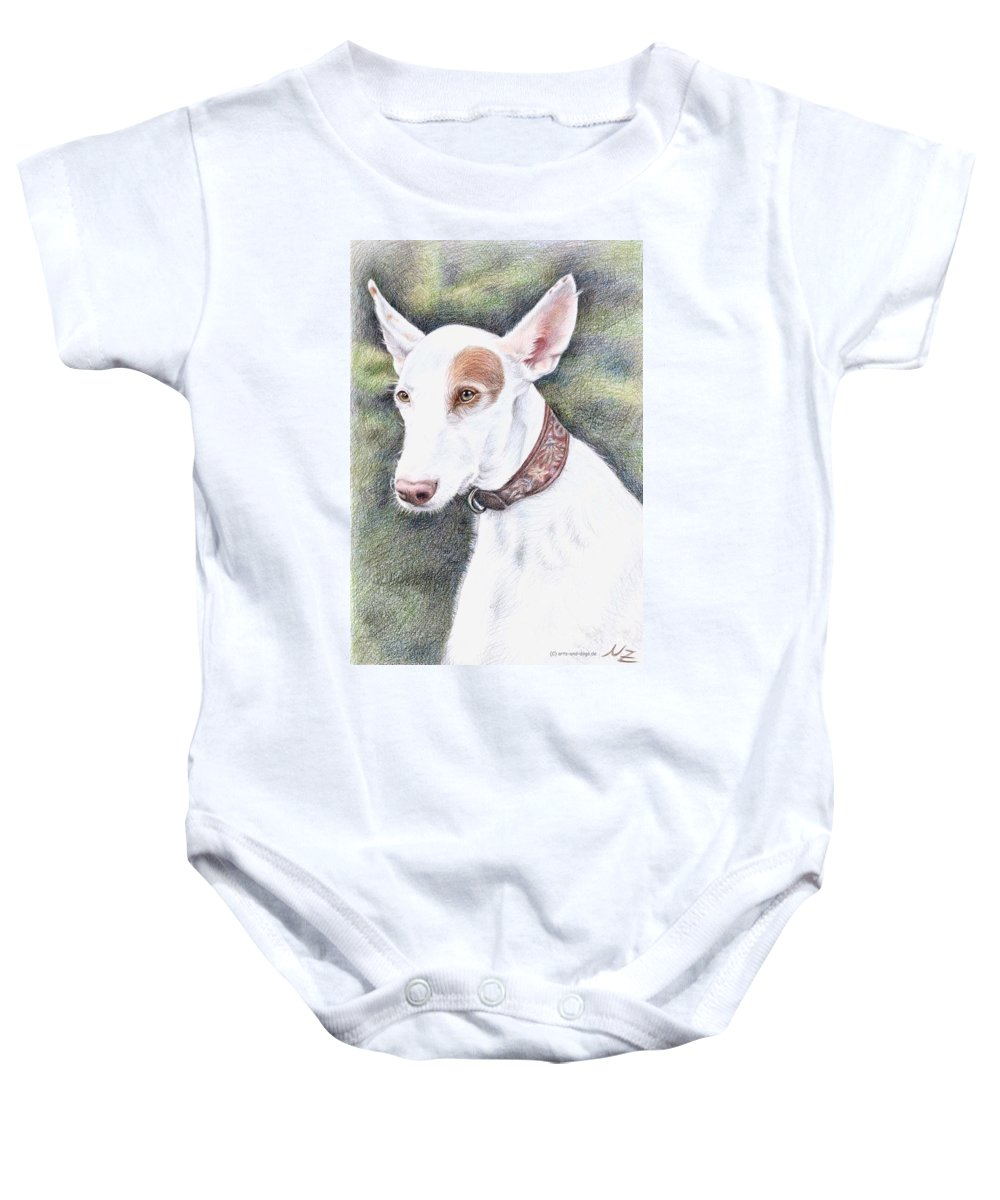 Dog Baby Onesie featuring the drawing Podenco Ibicenco by Nicole Zeug