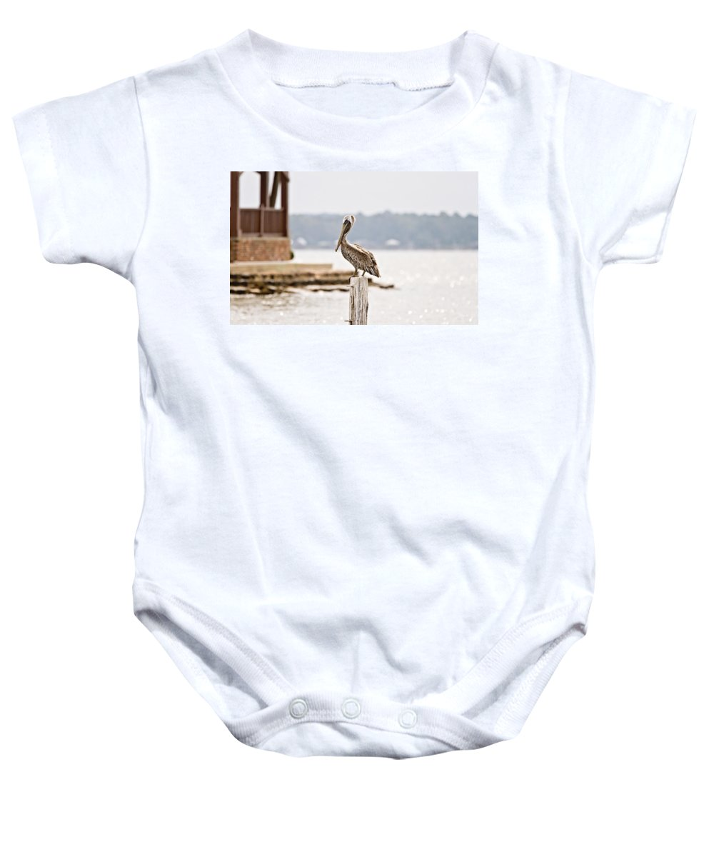 Pelican Baby Onesie featuring the photograph Point Clear by Scott Pellegrin