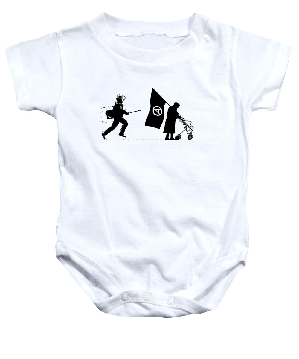 Police Baby Onesie featuring the painting Police And Granny by Bela Manson