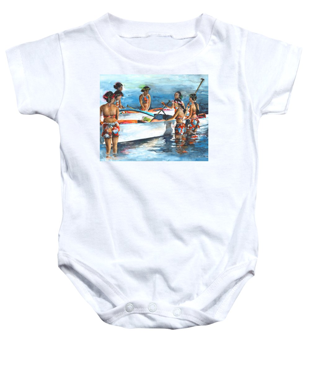 Travel Baby Onesie featuring the painting Polynesian Vahines Around Canoe by Miki De Goodaboom