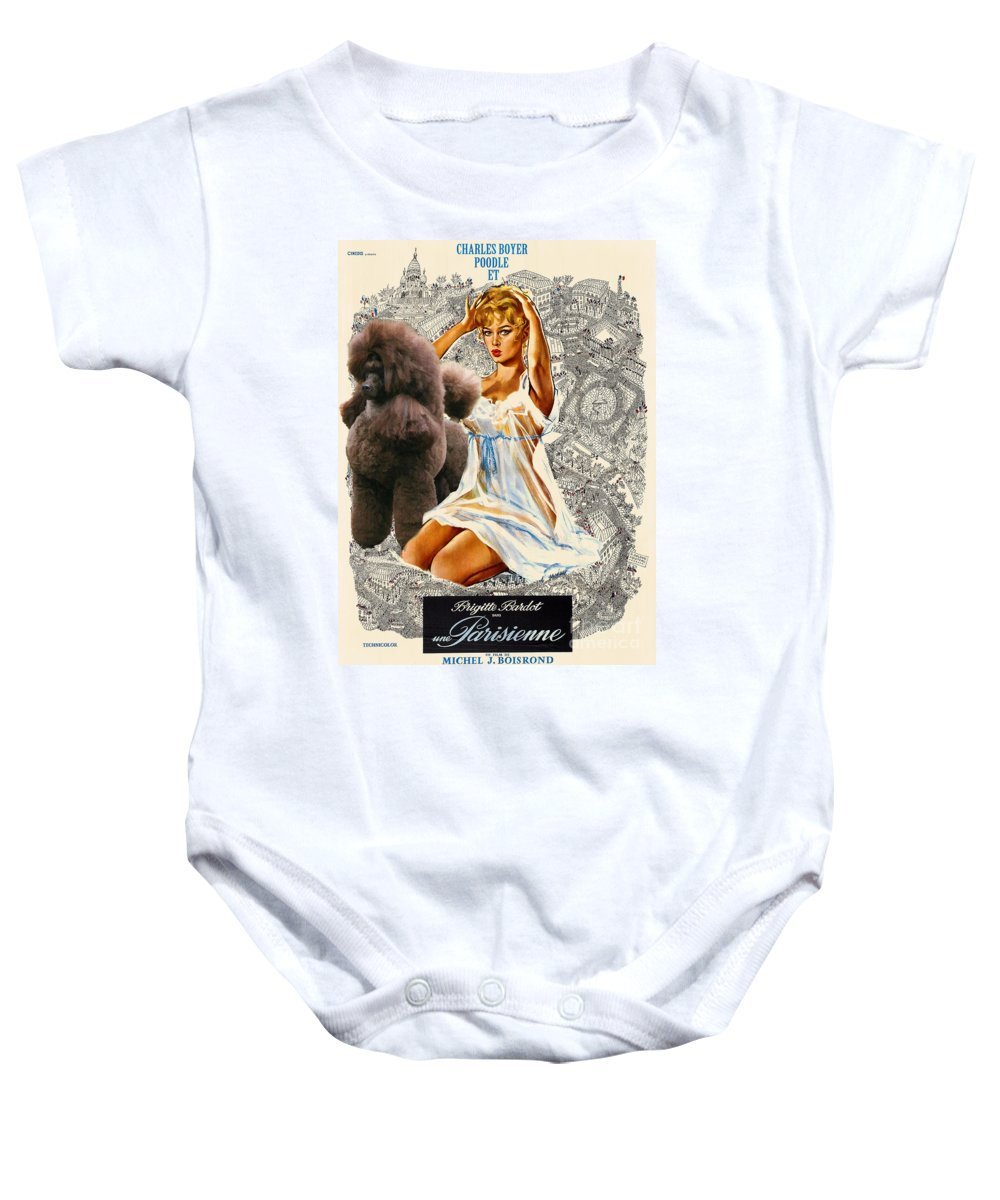 Dog Baby Onesie featuring the painting Poodle Art - Una Parisienne Movie Poster by Sandra Sij