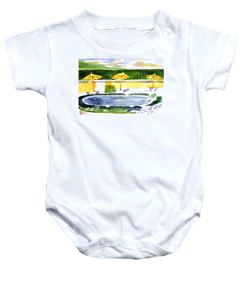 Poolside Baby Onesie featuring the painting Poolside by Kip DeVore