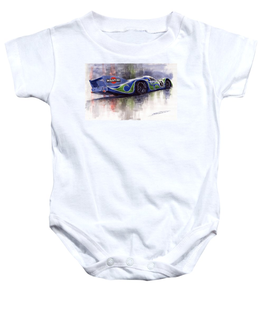 Watercolor Baby Onesie featuring the painting Porsche 917 Psychodelic by Yuriy Shevchuk
