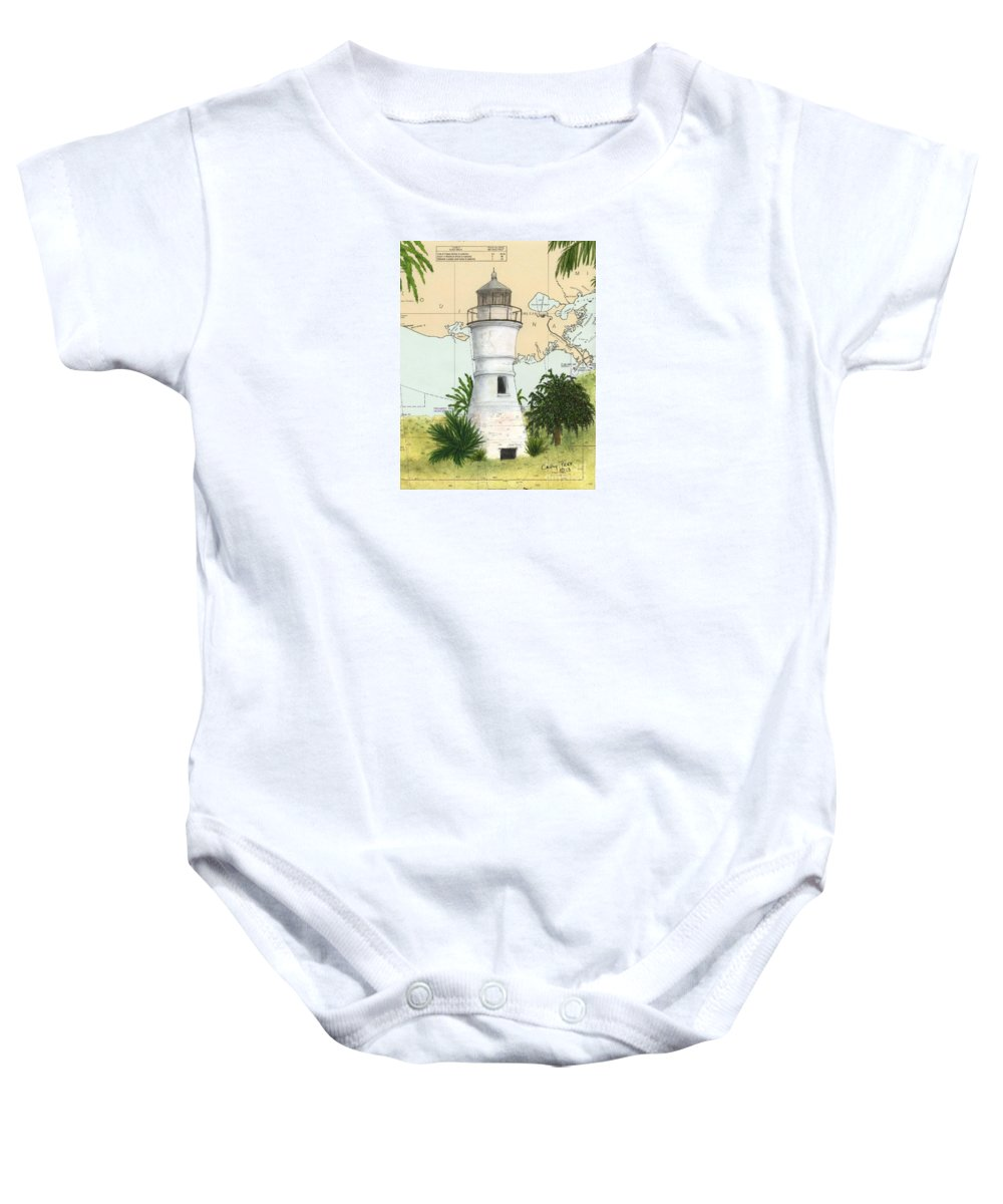 Port Baby Onesie featuring the painting Port Pontchartrain Lighthouse La Chart Map Art by Cathy Peek
