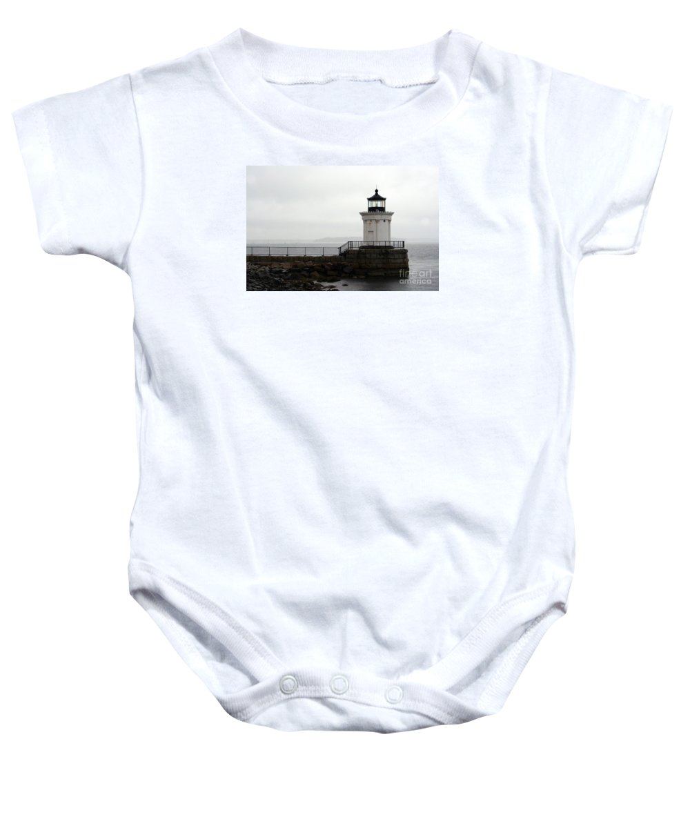 Lighthouse Baby Onesie featuring the photograph Portland Breakwater Light On A Hazy Day - Maine by Christiane Schulze Art And Photography
