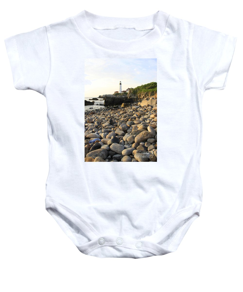 Sunrise In Maine Photographs Baby Onesie featuring the photograph Portland Light House 2 by Michael Mooney