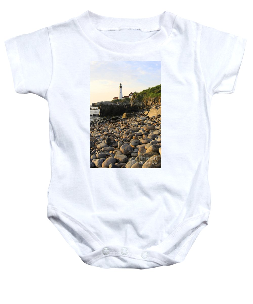 Maine Photos Baby Onesie featuring the photograph Portland Light House by Michael Mooney