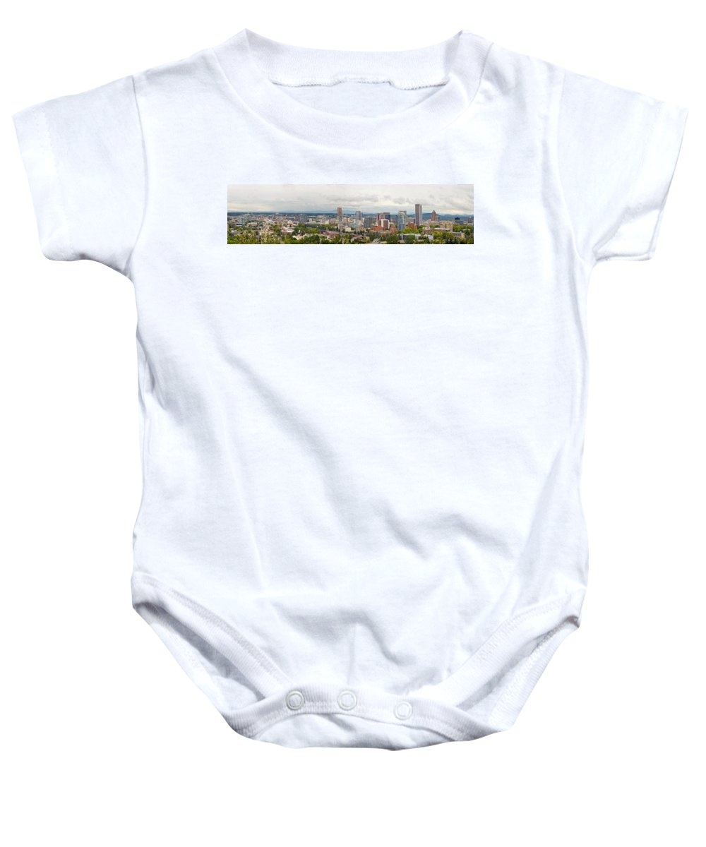 Portland Baby Onesie featuring the photograph Portland Oregon Downtown View Panorama by Jit Lim