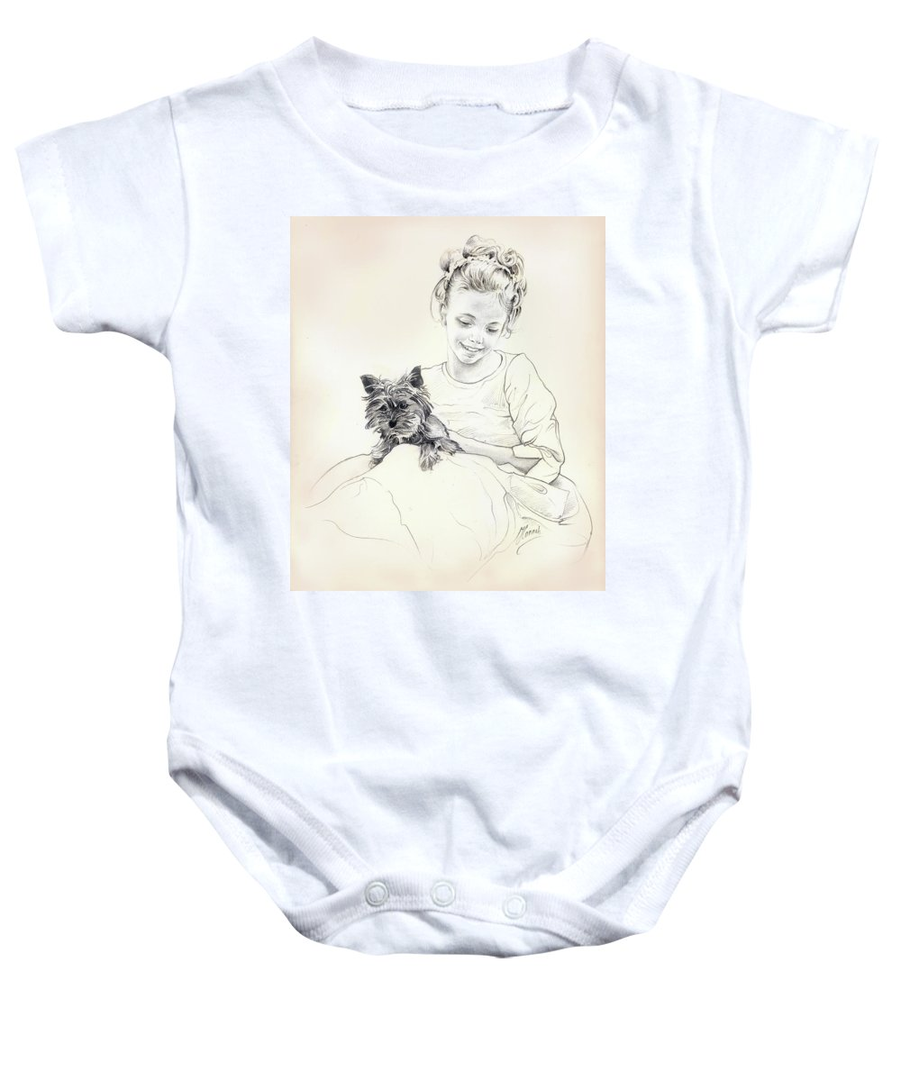 Girl Baby Onesie featuring the drawing Portrait Of Sylwia by Anna Ewa Miarczynska
