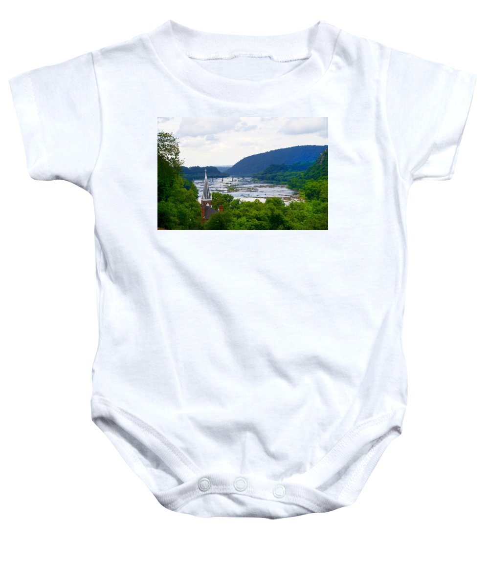 Potomac Baby Onesie featuring the photograph Potomac River At Harpers Ferry by Bill Cannon