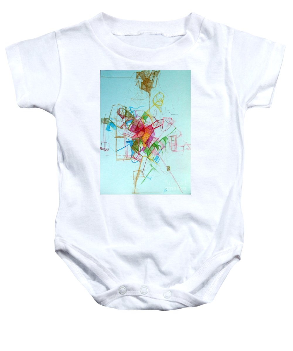 Torah Baby Onesie featuring the drawing Prayer Not To Waste A Moment 1 by David Baruch Wolk