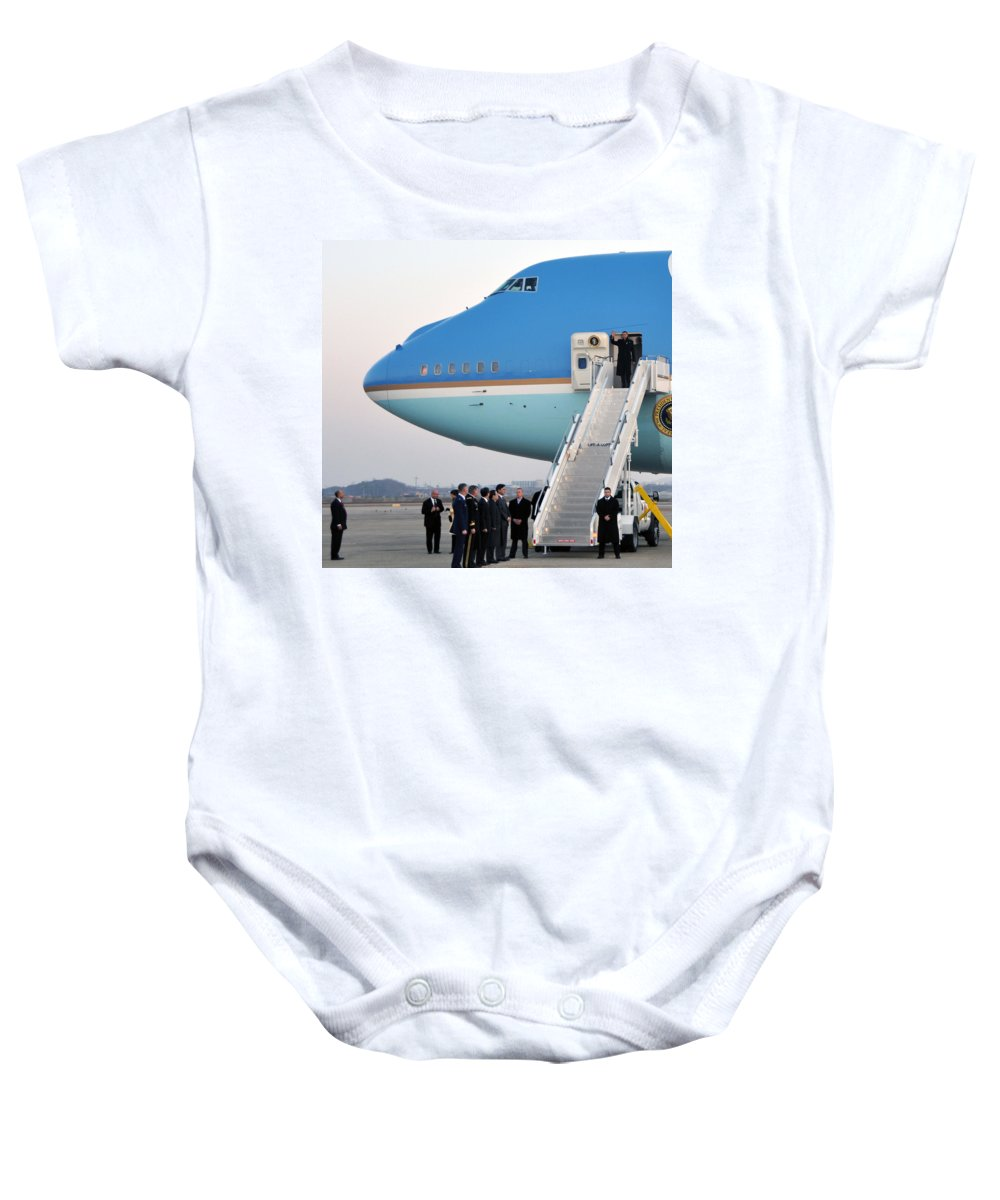 Military Baby Onesie featuring the photograph President Obama, Osan Air Base, Korea by Science Source