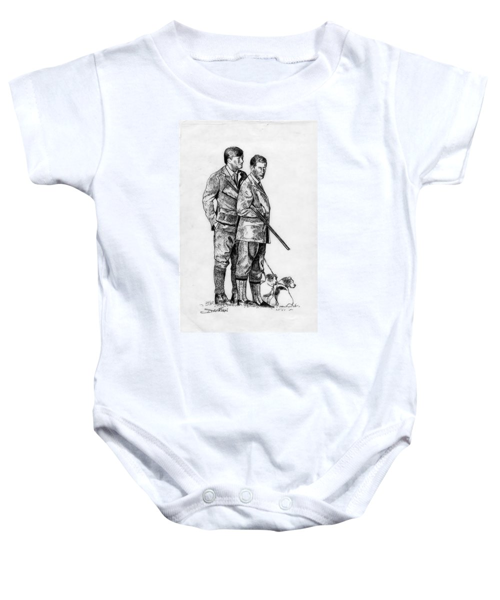 Baby Onesie featuring the drawing Prince Charles Hunting by Jude Darrien