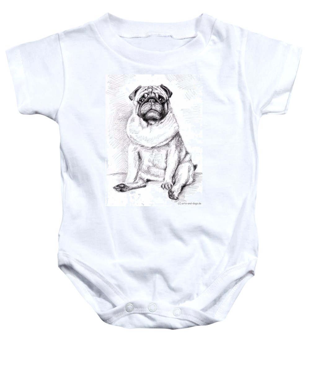 Dog Baby Onesie featuring the drawing Pug Anton by Nicole Zeug