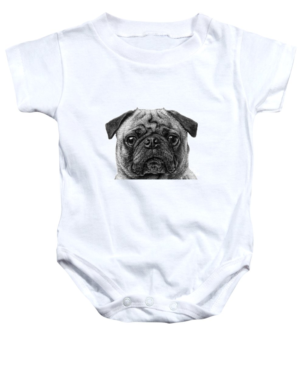 Graphic Baby Onesie featuring the photograph Pug Dog Square Format by Edward Fielding