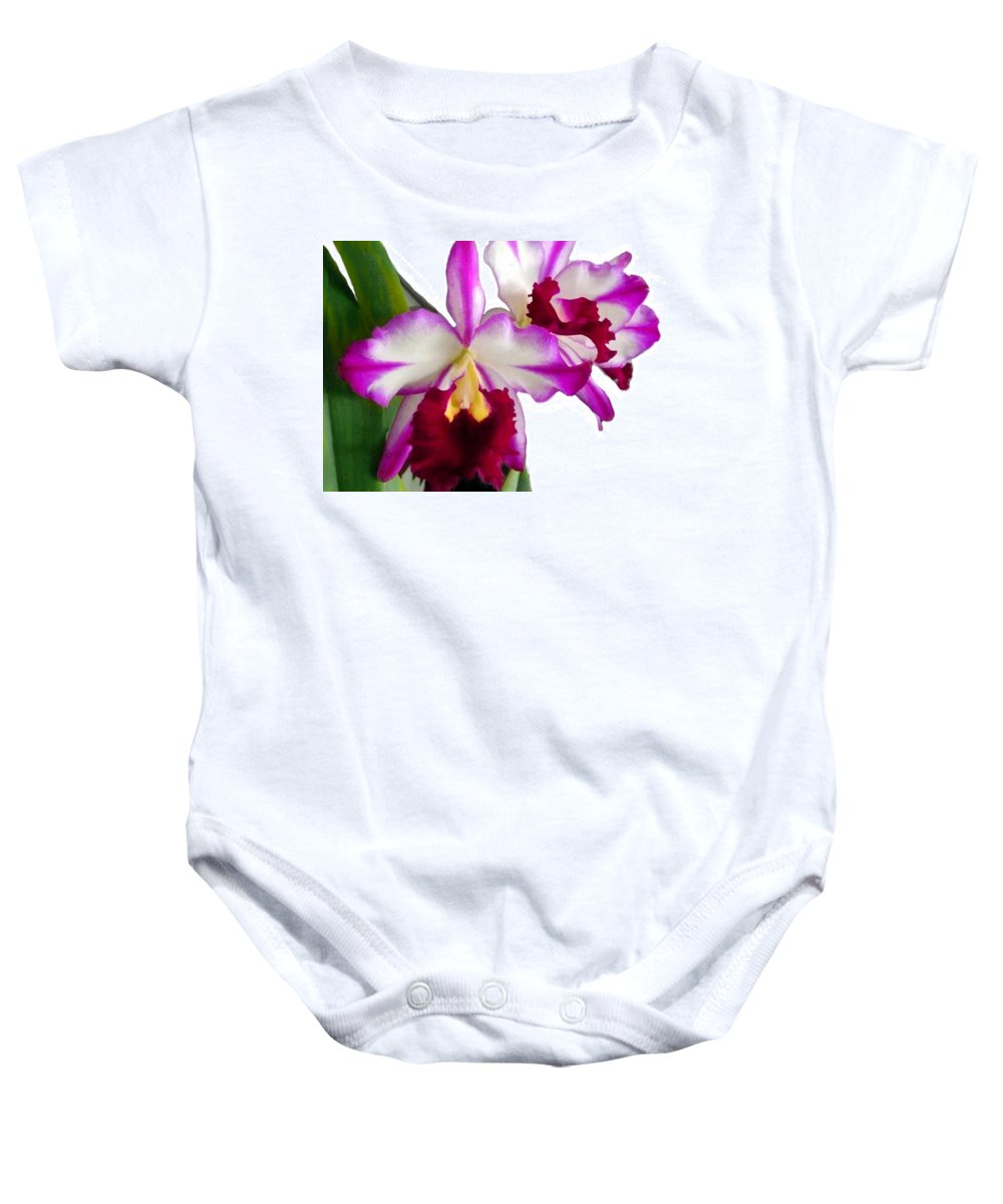 Orchid Baby Onesie featuring the painting Purple And White Cattleyas Against White Space by Elaine Plesser