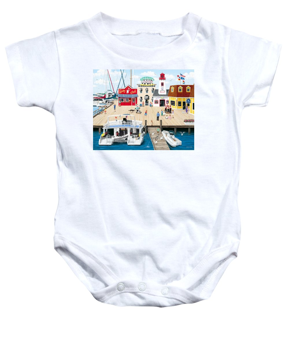 Naive Baby Onesie featuring the painting Quartet At The Quay by Wilfrido Limvalencia