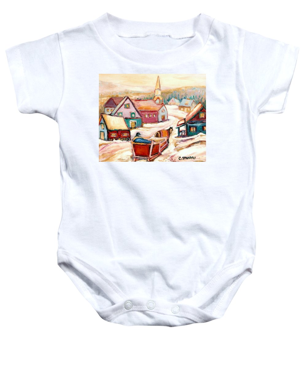 Quebec City Baby Onesie featuring the painting Quebec City Street Scene Caleche Ride In The Village by Carole Spandau
