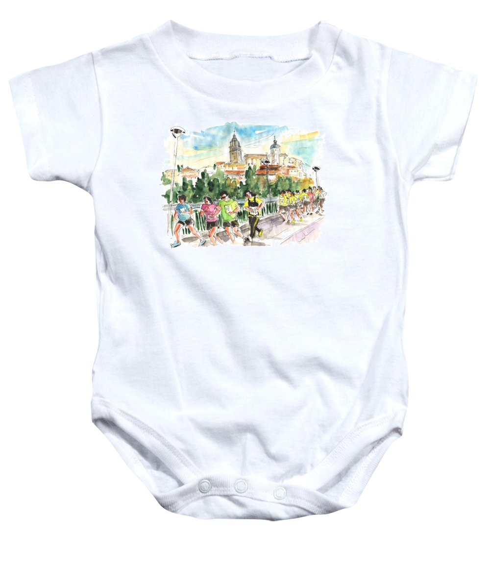 Travel Baby Onesie featuring the painting Race In Salamanca by Miki De Goodaboom