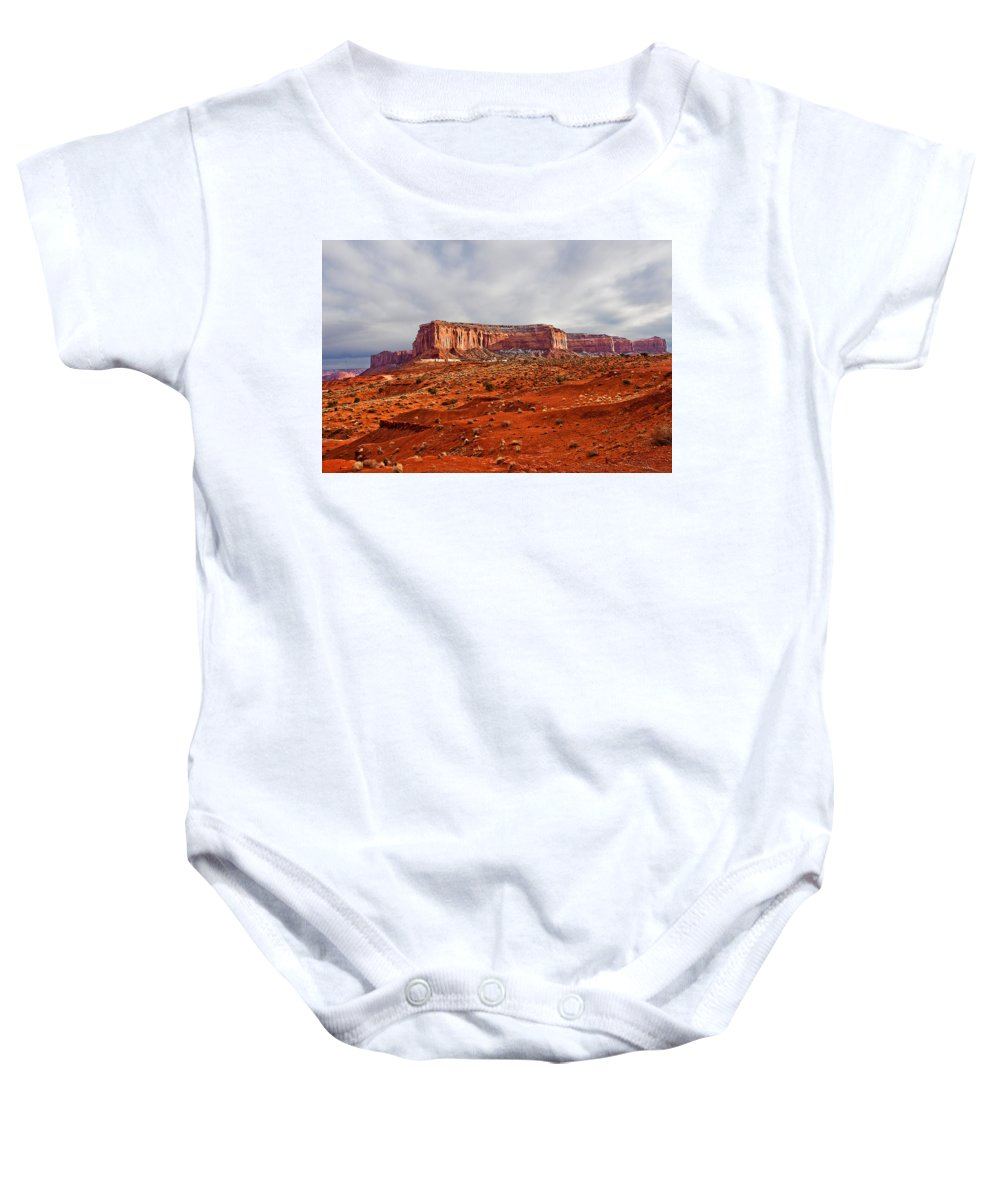 Butte Baby Onesie featuring the photograph Rain God Mesa by Peter Tellone
