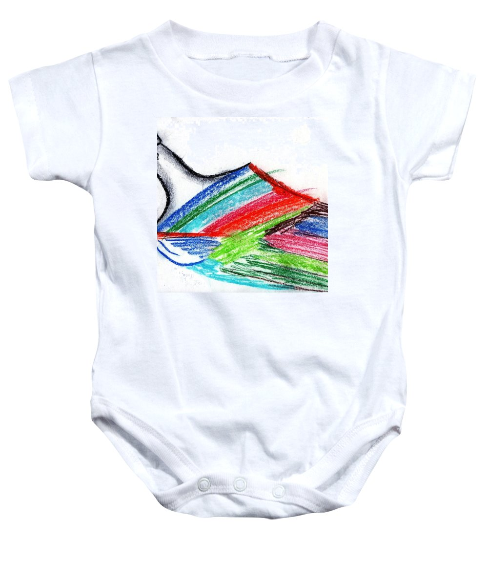 Rainbow Baby Onesie featuring the drawing Rainbow Paintbrush by Dan Twyman