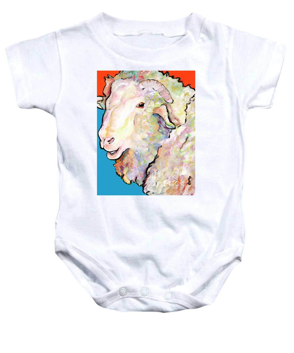 Pat Saunders-white Baby Onesie featuring the painting Rainbow Ram by Pat Saunders-White