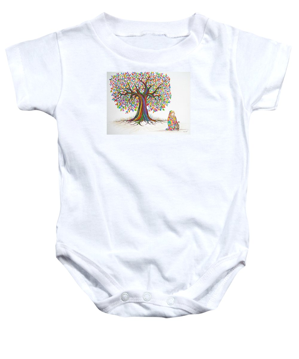 Tree Art Baby Onesie featuring the drawing Rainbow Tree Dreams by Nick Gustafson