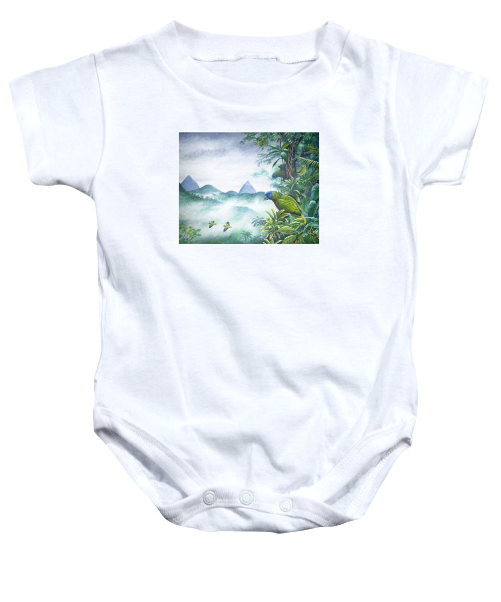 Chris Cox Baby Onesie featuring the painting Rainforest Realm - St. Lucia Parrots by Christopher Cox
