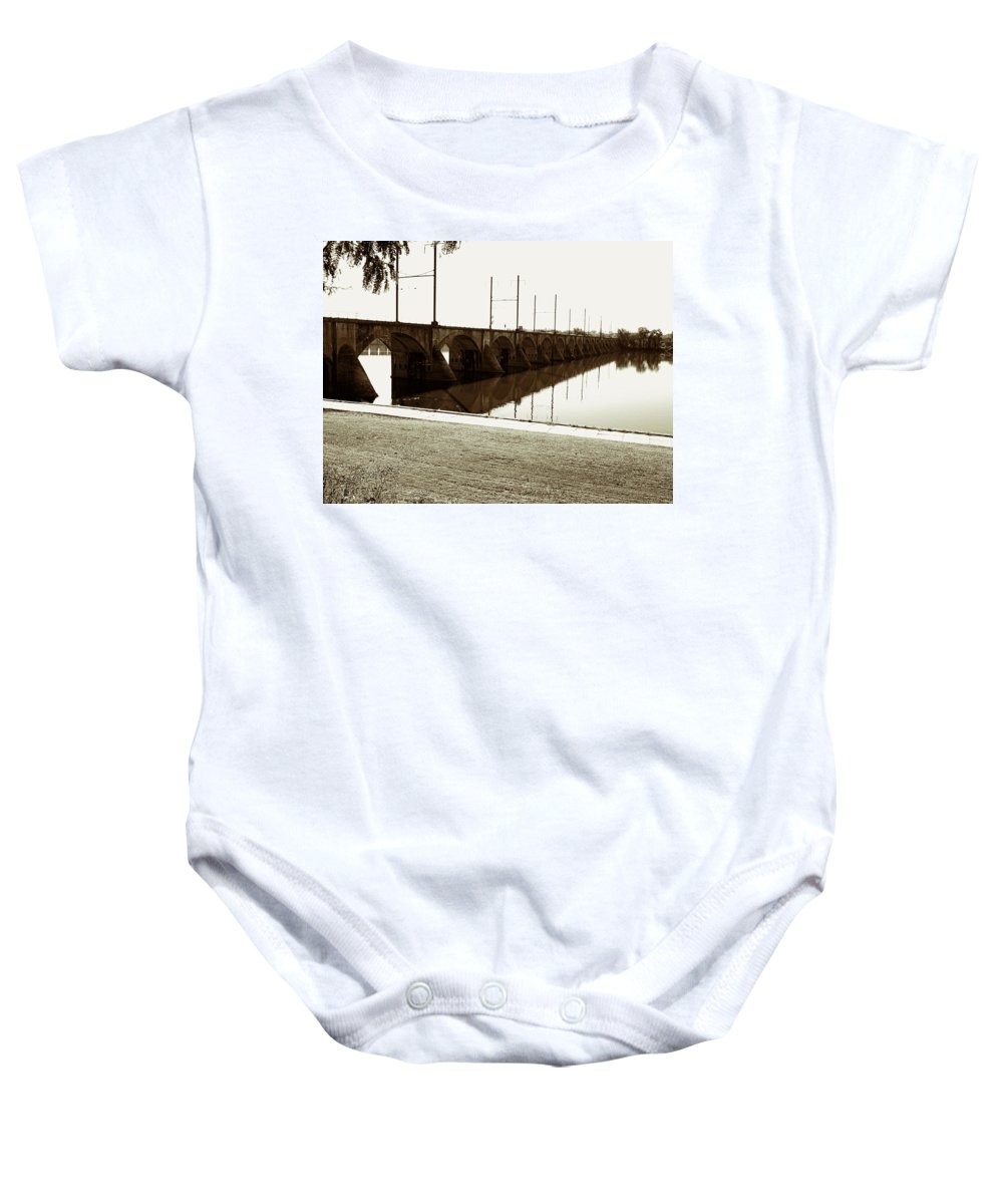 Reading Baby Onesie featuring the photograph Cumberland Valley Railroad Bridge by Jean Macaluso