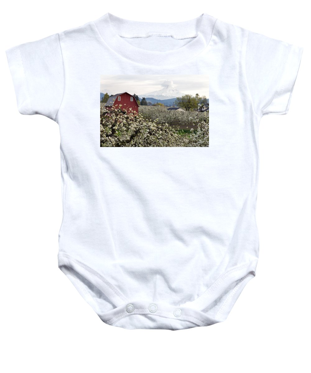 Red Baby Onesie featuring the photograph Red Barn In Hood River Pear Orchard by Jit Lim