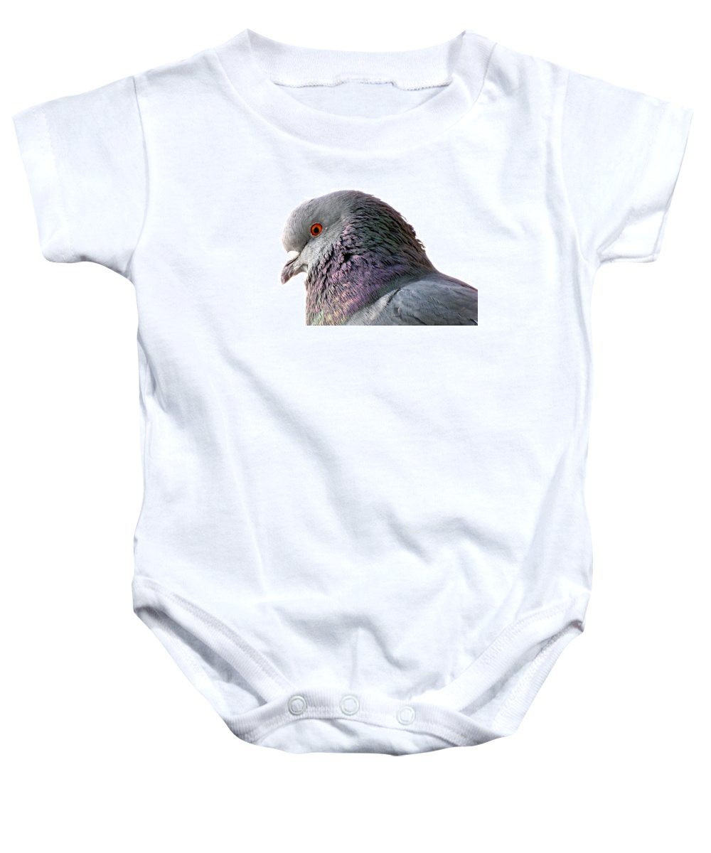 Pigeon Baby Onesie featuring the photograph Red-eyed Pigeon by Jennifer Wheatley Wolf