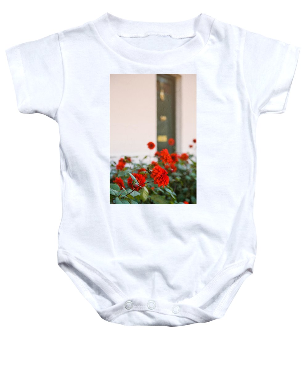 Bud Baby Onesie featuring the photograph Red Flowers by Mark Llewellyn
