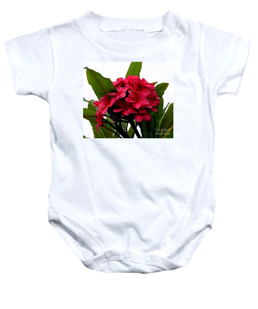 Plumeria Baby Onesie featuring the photograph Red Plumeria by Mary Deal