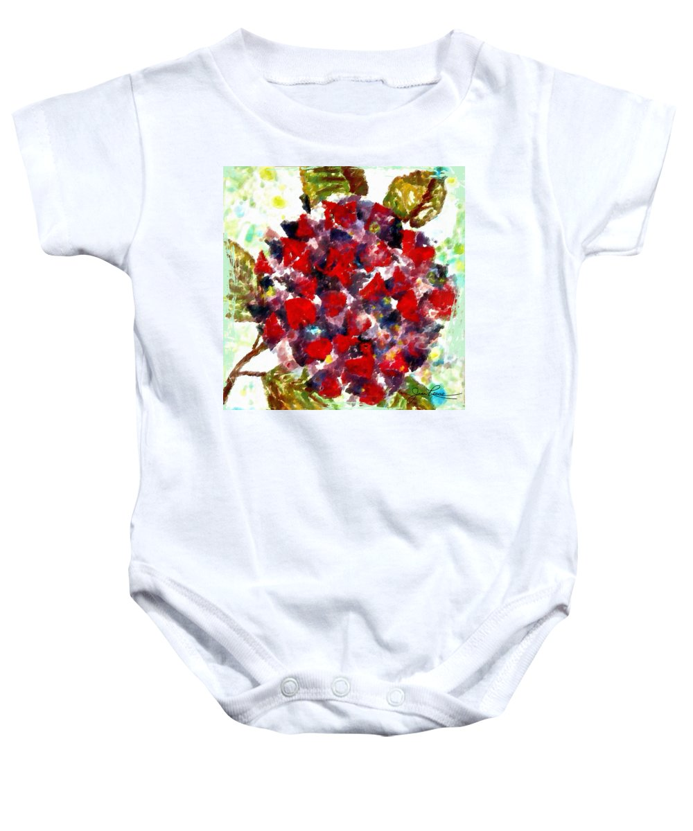 Red Baby Onesie featuring the painting Red Purple Flower by Joan Reese