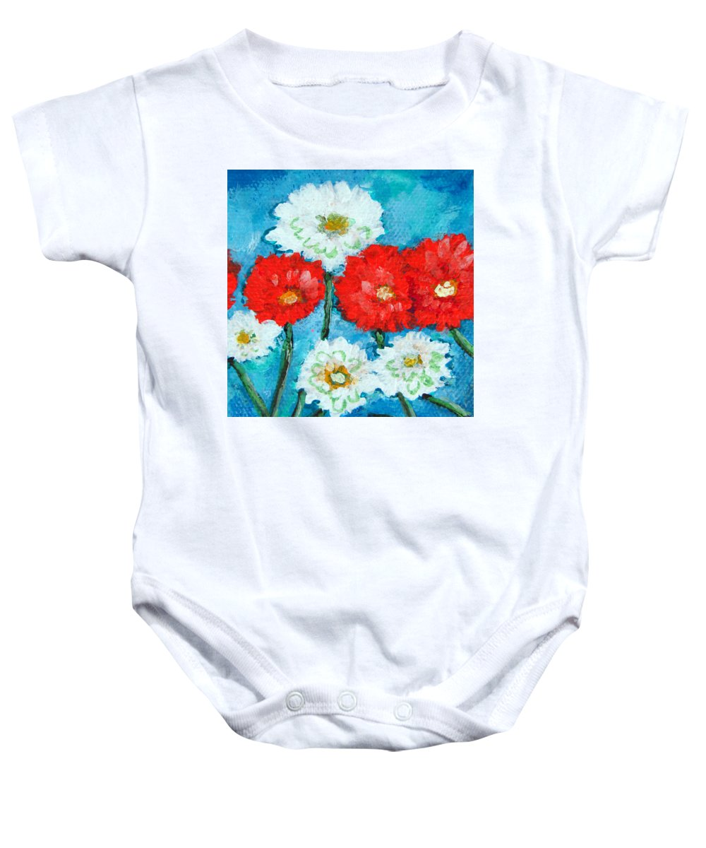Red Baby Onesie featuring the painting Red White And Blue Zinnia Flowers by Ashleigh Dyan Bayer