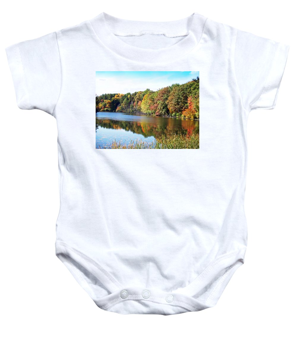 Durhand Eastman Park Baby Onesie featuring the photograph Reflecting Trees by Aimee L Maher ALM GALLERY