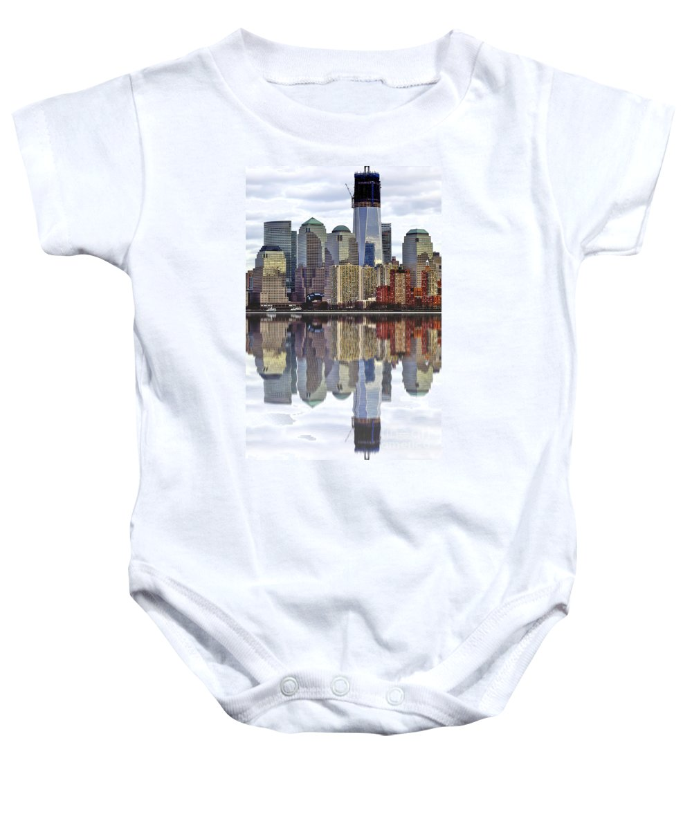 City Baby Onesie featuring the photograph Reflection Of Downtown Nyc by Toula Mavridou-Messer
