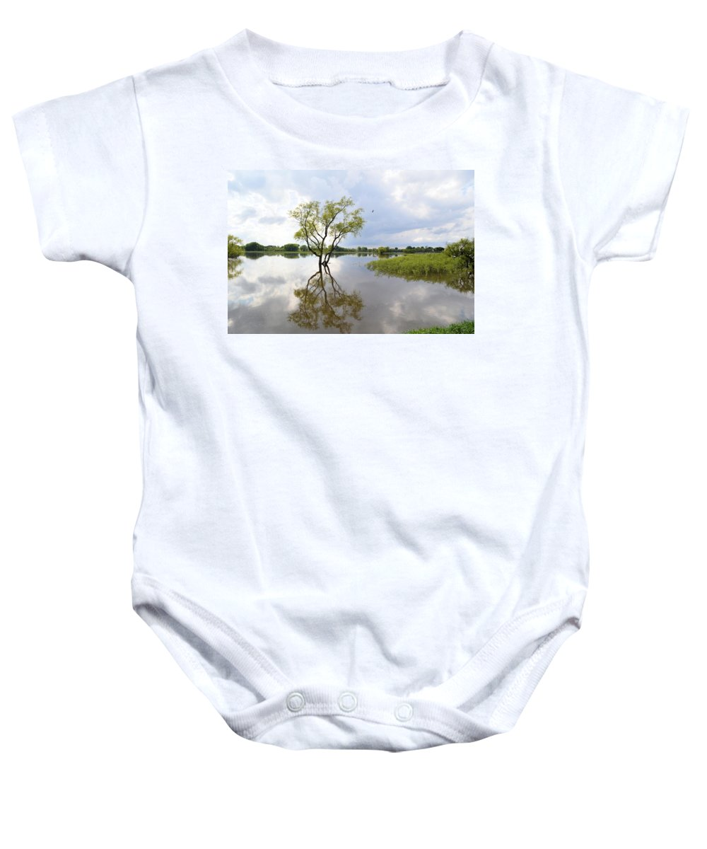 Reflect Baby Onesie featuring the photograph Reflective Times by Bonfire Photography