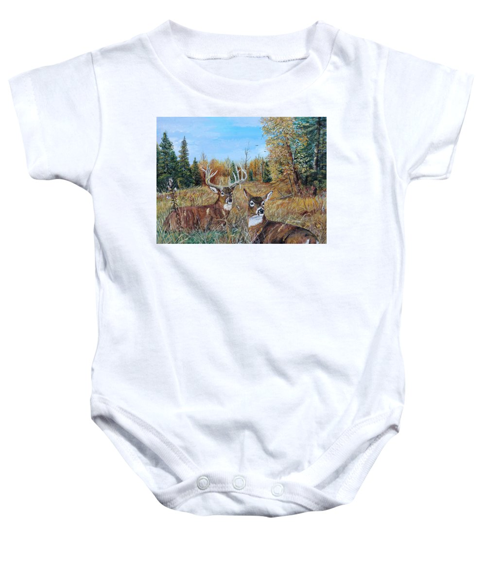 Whitetail Baby Onesie featuring the painting Rendezvous Whitetail by Alvin Hepler