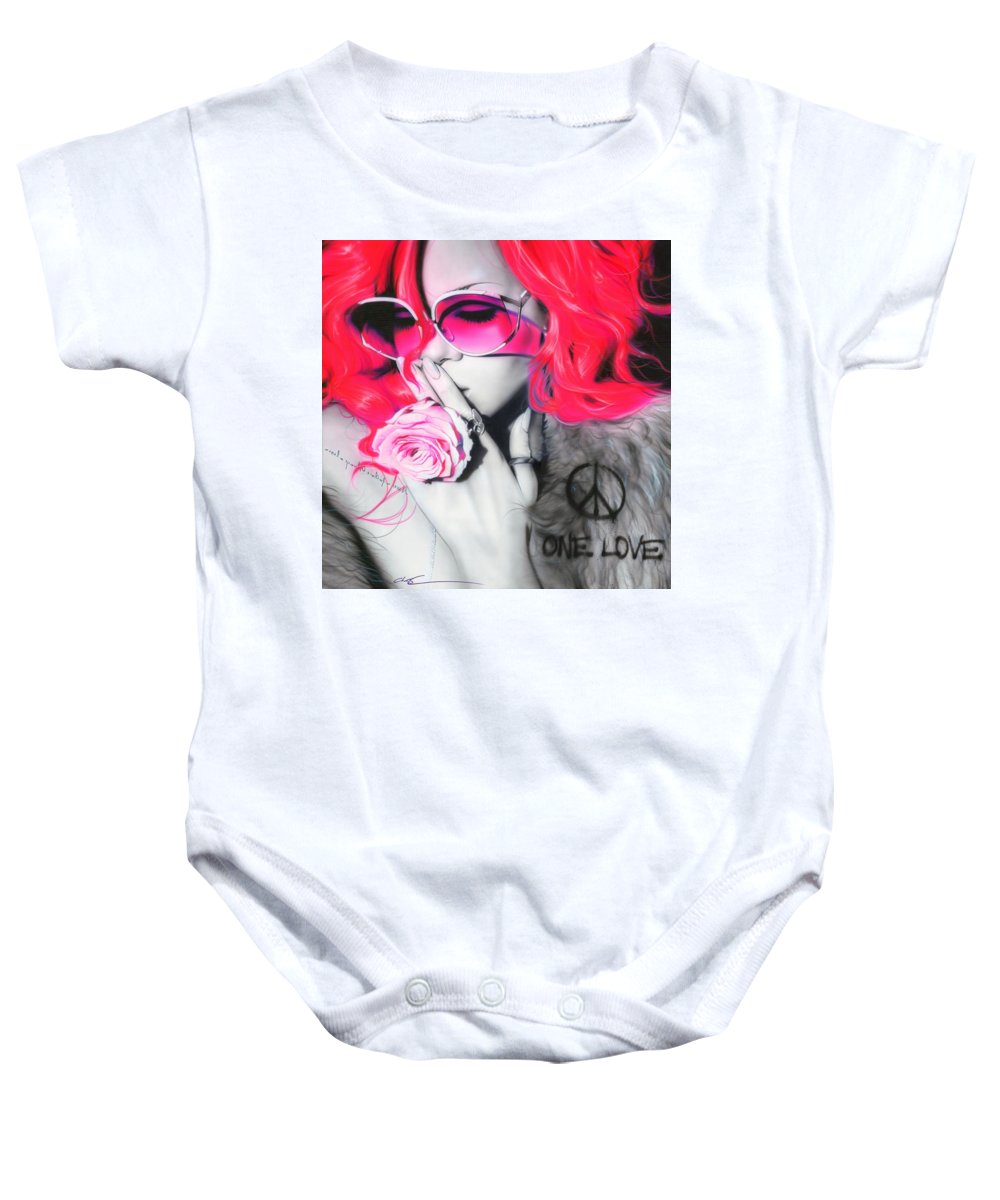 Rihanna Baby Onesie featuring the painting Rihanna by Christian Chapman Art
