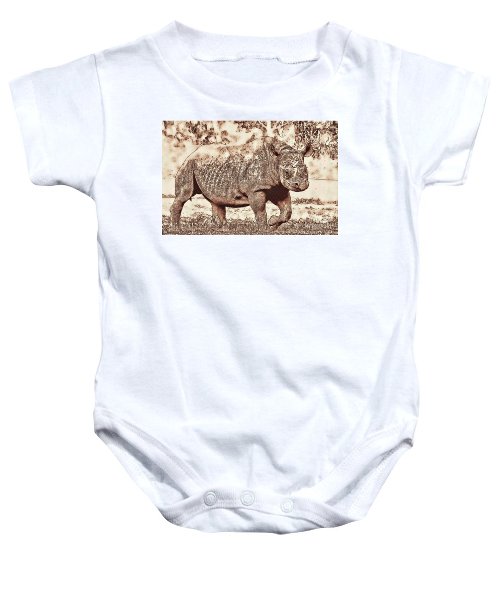 Animal Baby Onesie featuring the photograph Rhinoceros by Les Palenik