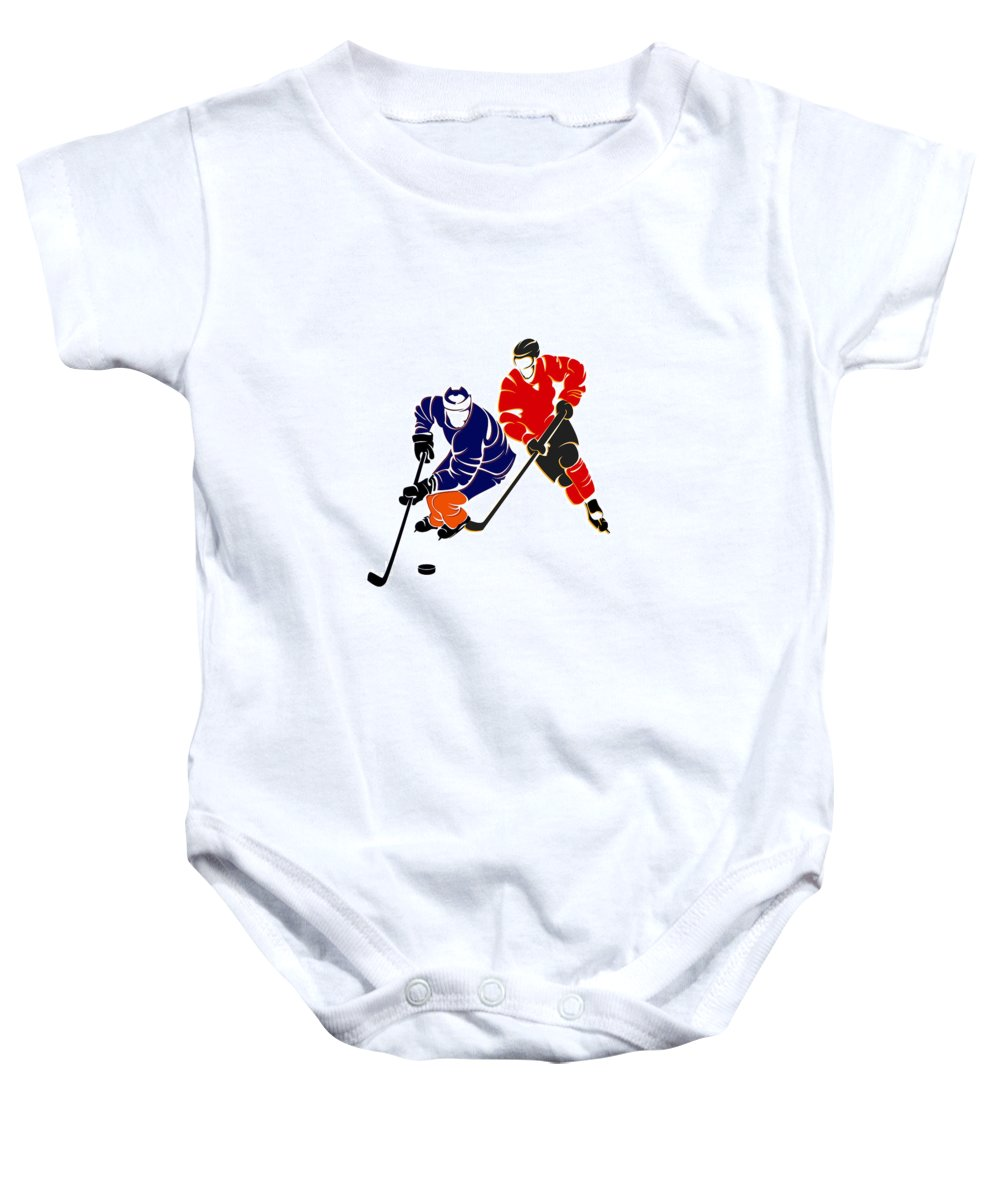 Oilers.edmonton Baby Onesie featuring the photograph Rivalries Oilers And Flames by Joe Hamilton